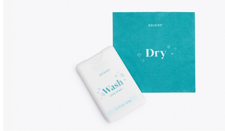 Wash & Dry lens eyeglass cleaning kit #A110200030 comes with small spray and microfiber cloth in a plastic holder.