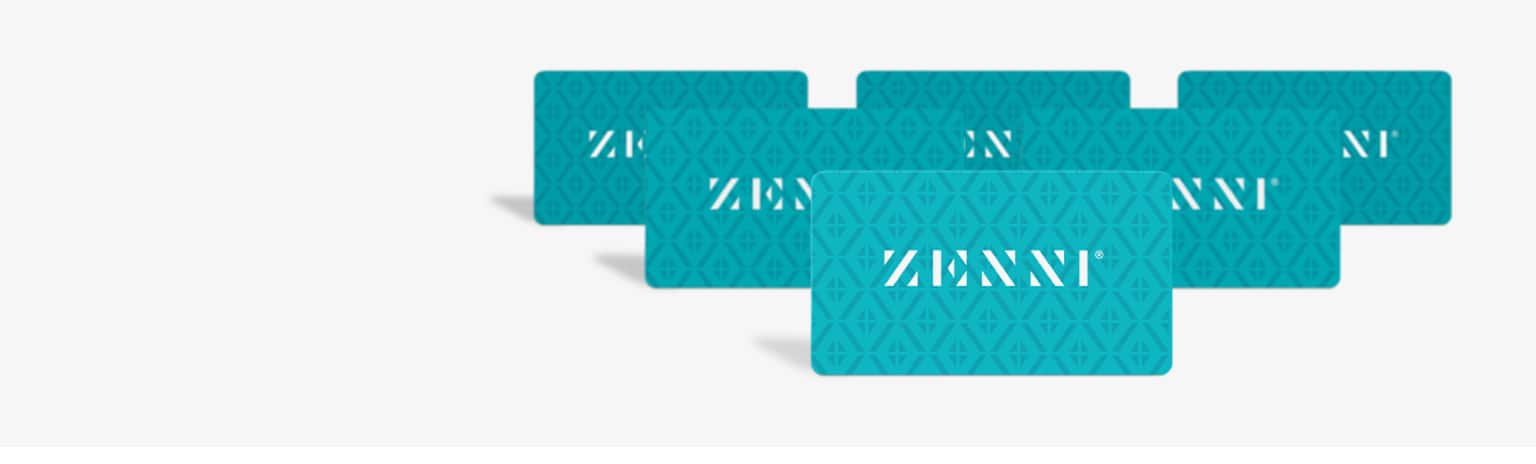 Teal Zenni gift card with logo.