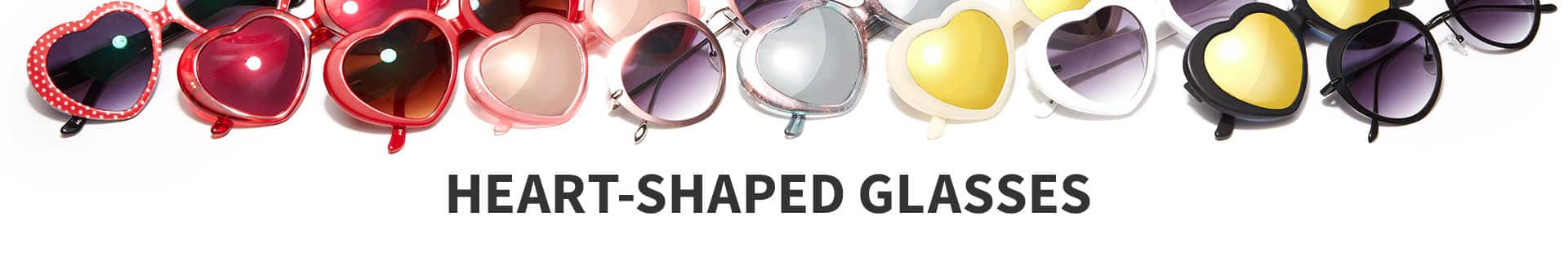 Heart-shaped glasses and sunglasses in a variety of tints and finishes.