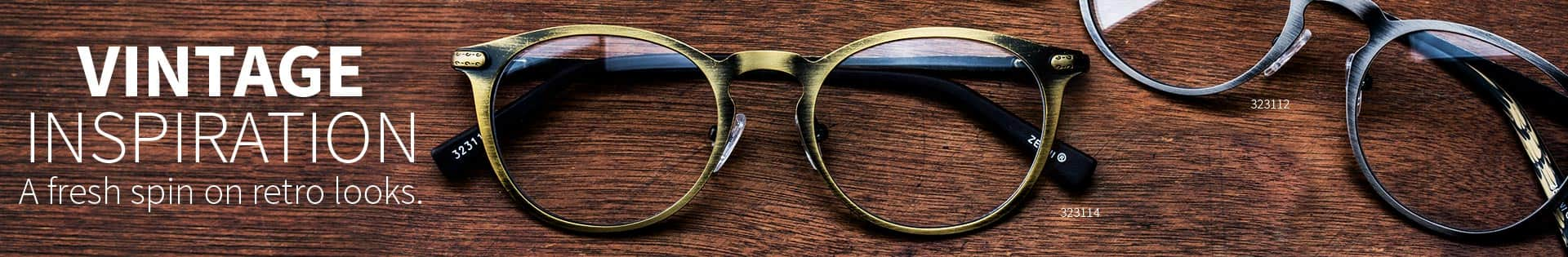 Vintage inspired round frame #323114 in brushed bronze and #323112 in brushed silver.