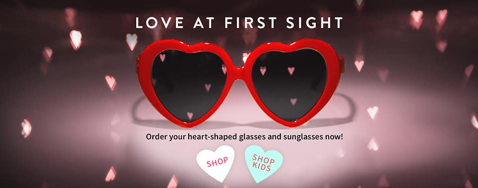 Heart Shaped Eyeglasses and Sunglasses for Valentines Day