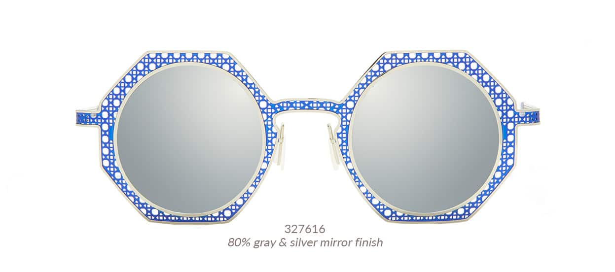 Blue geometric sunglasses with cool, perforated pattern and silver mirror tint. Frame #327616.