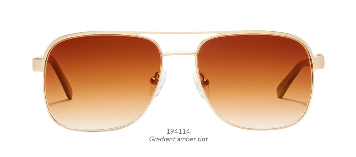 Ultra-cool Sunset aviators from Zenni's LA Collection. Shown in gold with gradient amber tint. Frame #194114.