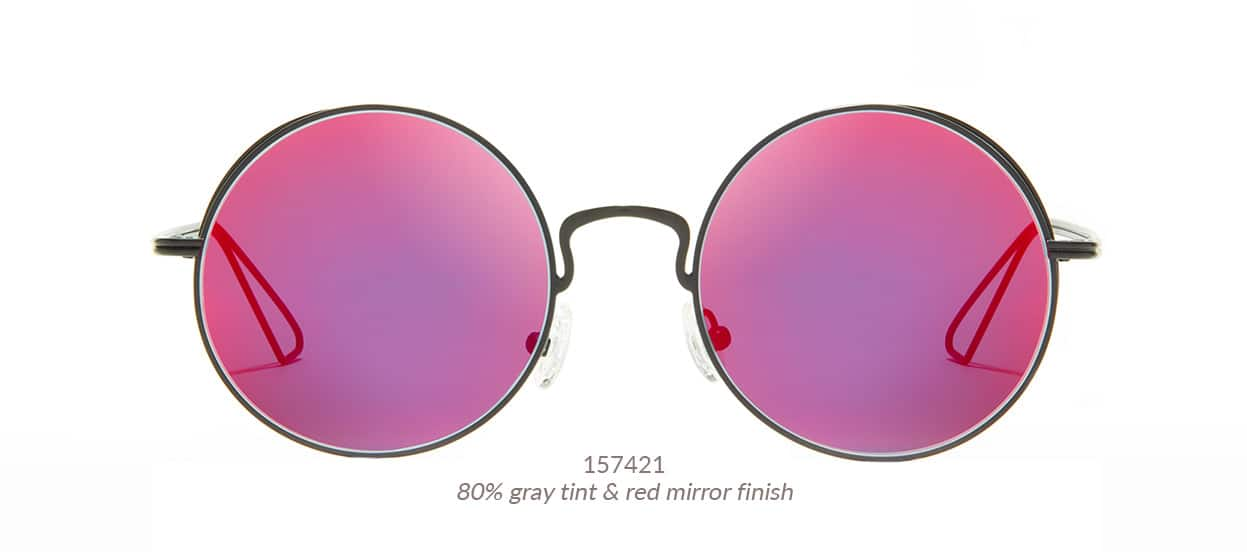 Premium round sunglasses in black metal with cool wire detail on the sides of the rimsand cutout temple tips. Shown with red mirror tint. Frame #157421.
