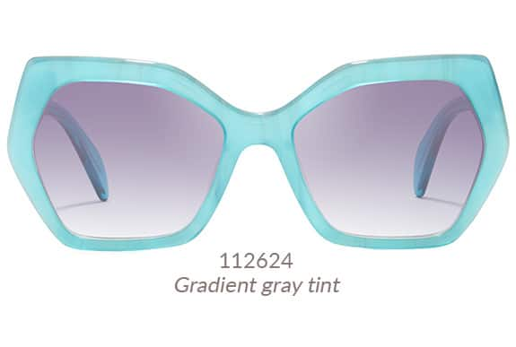 Mulholland geometric sunglasses from Zenni's LA Collection is a gorgeous, oversized frame. Shown in aqua blue with gradient gray tint. Frame #112624.