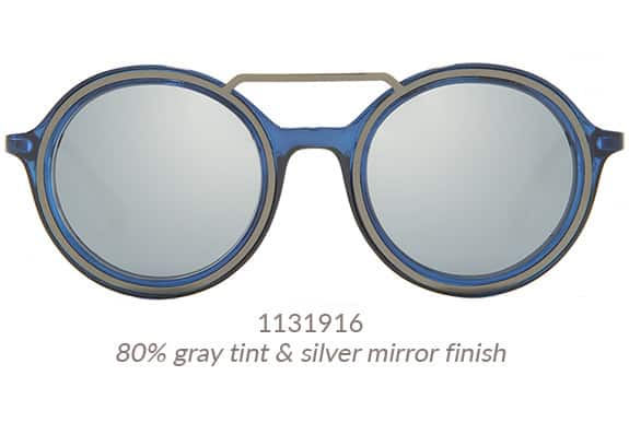 A gunmetal brow bar and gunmetal detail around the front rim give these midnight blue premium round sunglasses a steampunk vibe. Frame #1131916.