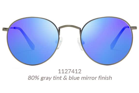 An antique finish gives these gray premium round sunglasses a vintage vibe. Shown with blue mirror finish. Frame #1127412.