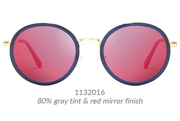 Go bold these large premium round sunglasses in dark blue with gold metal rims. Shown with red mirror finish. Frame #113216.