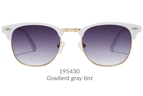 Retro-inspired browline sunglasses with classic detailing. White brow with gold accents. Shown with gradient gray tint. Frame #195430.