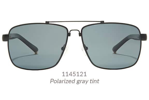 Premium aviators with angular rims in black memory titanium. Shown with 80% gray-tinted lenses. Frame #1145121.
