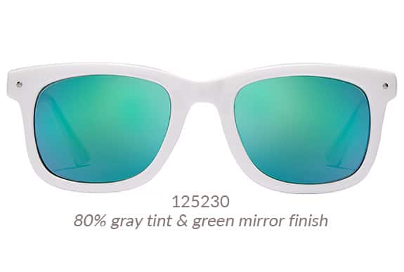 Nineties-inspired, white square sunglasses shown with green mirror tint. Frame #125230.