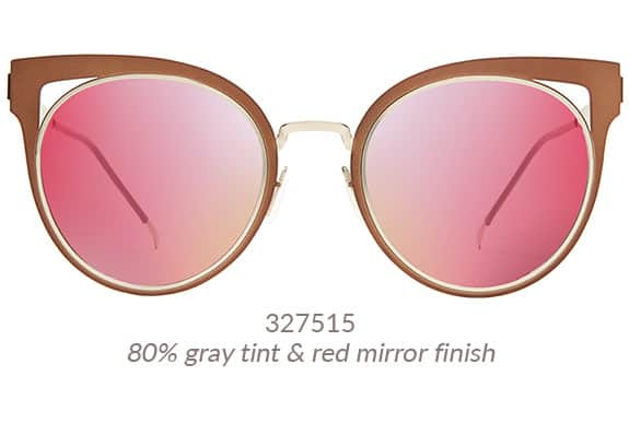 Fashion-forward, gorgeous cat-eye sunnies with flat metal front and striking cut-out detail on the corners. Shown in copper with silver arms and 80% gray tint and rose gold mirror finish. Frame #327515.