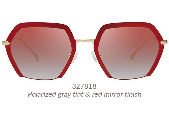 Make a statement in these bold geometric sunglasses in red metal with gradient gray tint. Frame #327818.