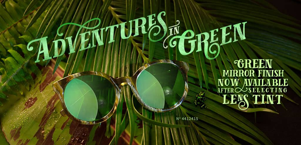 Adventures in Green. Green mirror finish now available. Acetate Full-Rim Frame with Spring Hinges. Frame 4412415