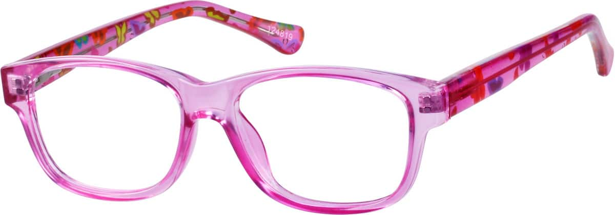 Girls' Pink Rectangular Eyeglasses