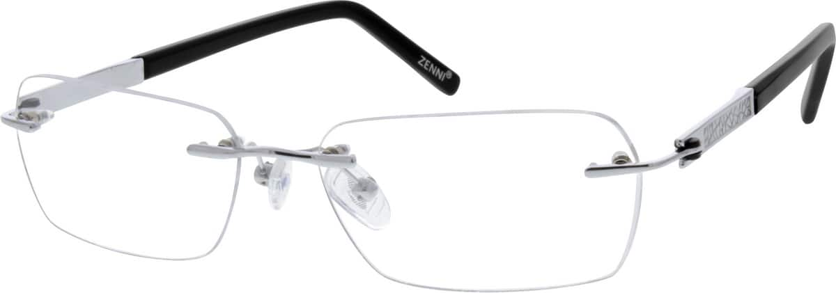 Silver Rimless Titanium Frame #1314 | Zenni Optical Eyeglasses