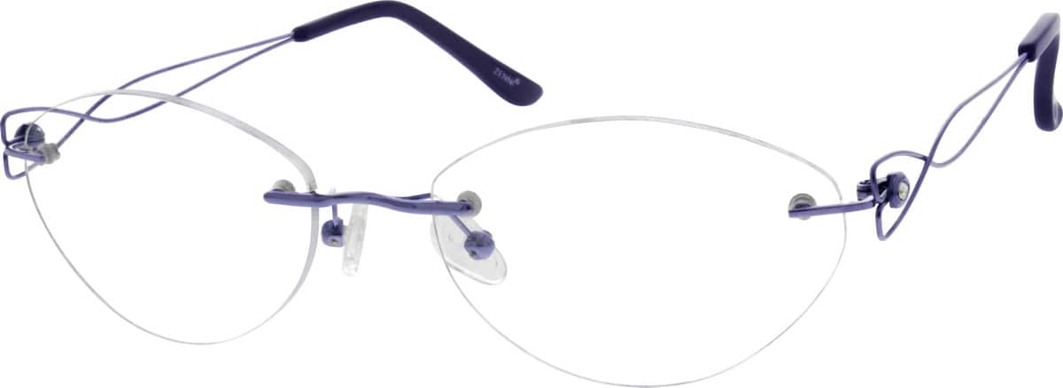Rimless Distance Glasses : Purple Rimless Titanium Eyeglasses #1349 Zenni Optical ...