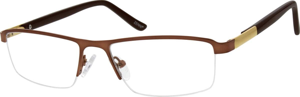 Men Half Rim Mixed Materials Eyeglasses #141521