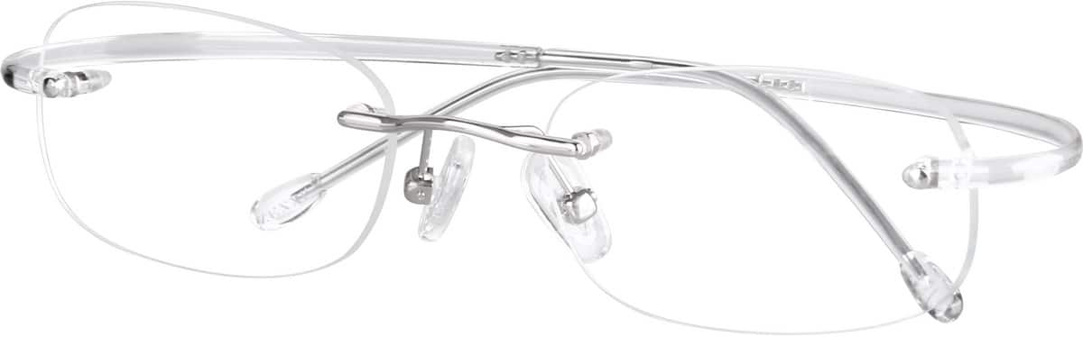 Rimless Metal Alloy Frame with Flexible Plastic Temples