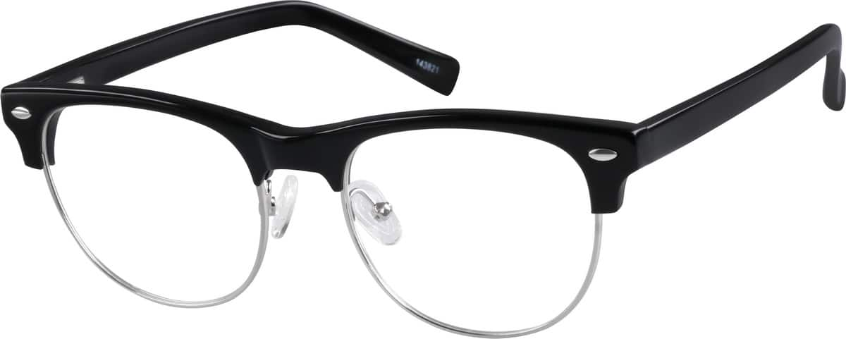 Eyeglasses With No Bottom Frame : Black Browline Eyeglasses #1438 Zenni Optical Eyeglasses