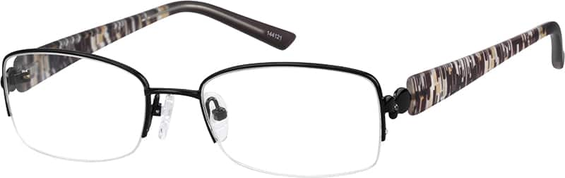 Metal Alloy Half Rim Frame with Flexible Plastic Temples