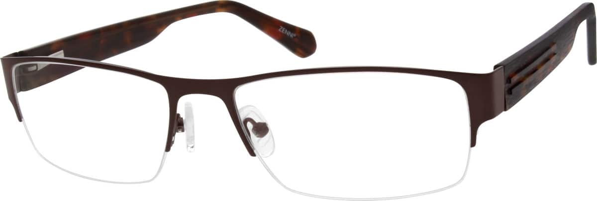 Men Half Rim Mixed Materials Eyeglasses #147915