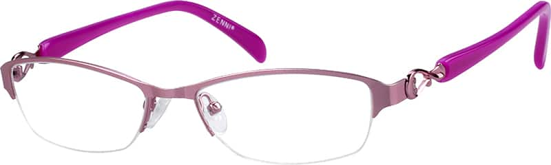 Stainless Steel Half Rim Frame with Acetate Temples