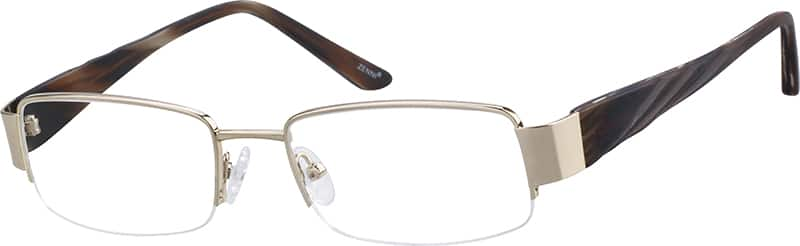Men's Metal Half-Rim Eyeglasses