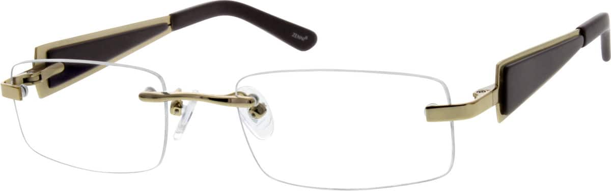 Rimless Metal Alloy Frame With Stainless Stee Temples And Spring Hinges