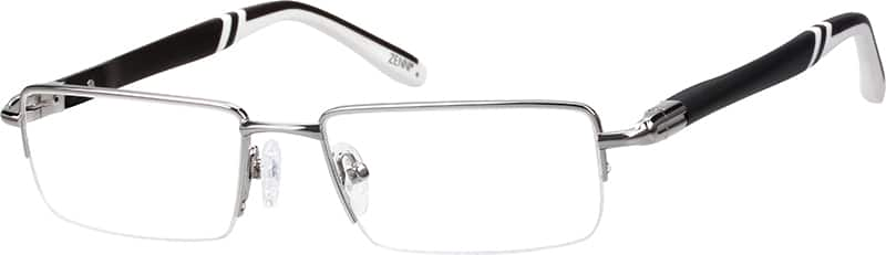 Stainless Steel Half-Rim Frame With Plastic Temples and Spring Hinges
