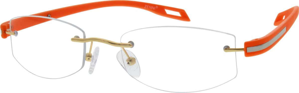 Metal Alloy Rimless Frame with Plastic Temples
