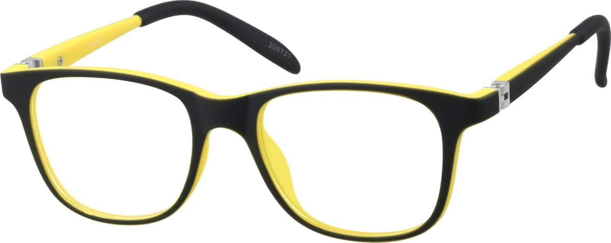 Kids' Black & Yellow Square Eyeglasses