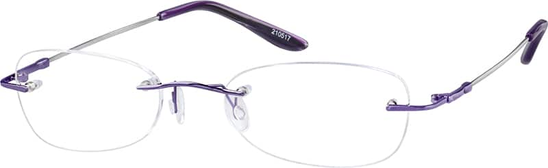 Purple2105 Rimless Flexible (Memory) Titanium (Same Appearance as Frame #8105)