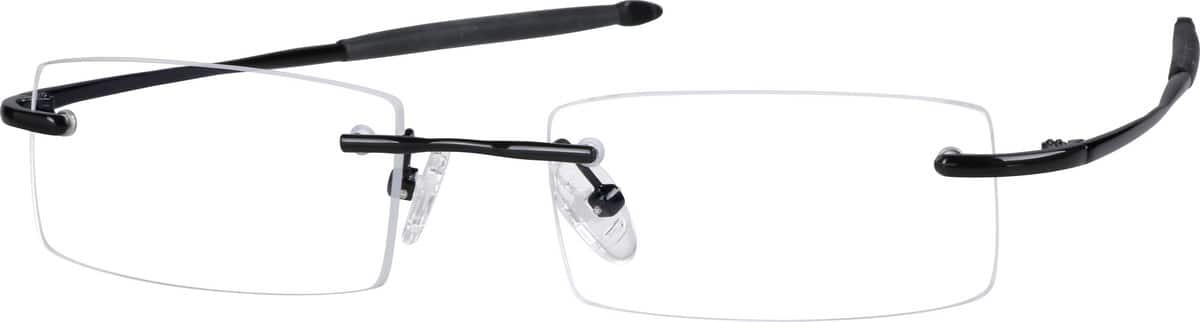 Black 2164 Rimless Flexible (Memory) Titanium