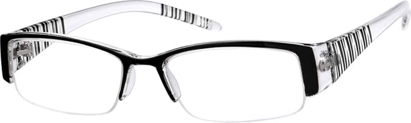 Black 2221 Plastic Fashion Half-Rim Frame