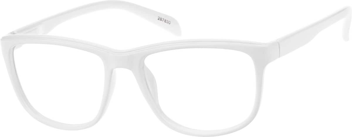 22 By 28 Frame White: White Plastic Full-Rim Frame With Spring Hinges #2878