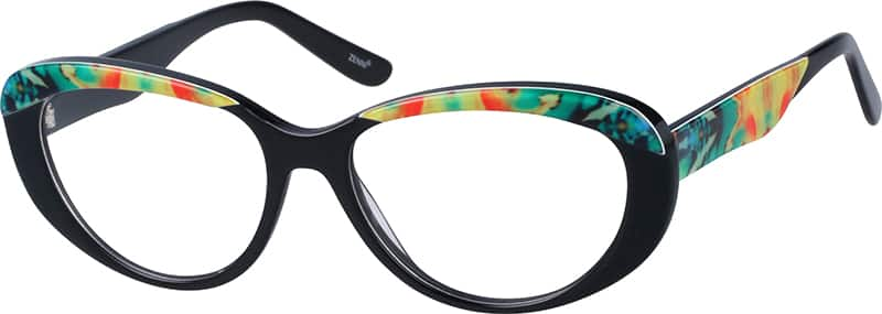 Eyeglasses Frame Temples : Black Acetate Full-Rim Frame with Designer Temples #3082 ...