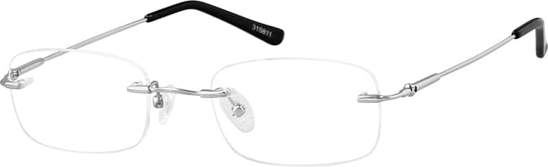 Silver 3158 Bendable (Memory) Titanium - Rimless with Full-Swing Hinges