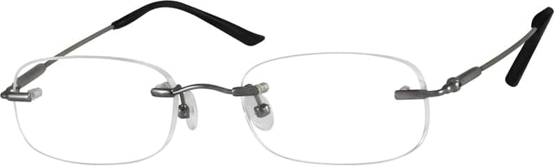 Grey 3158 Bendable (Memory) Titanium - Rimless with Full-Swing Hinges