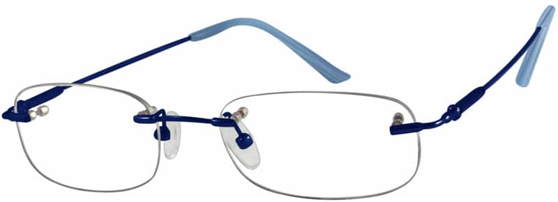Blue 3158 Bendable (Memory) Titanium - Rimless with Full-Swing Hinges