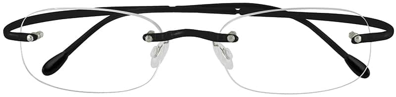 Black 3411 Rimless Hingeless Flexible (Memory) Plastic