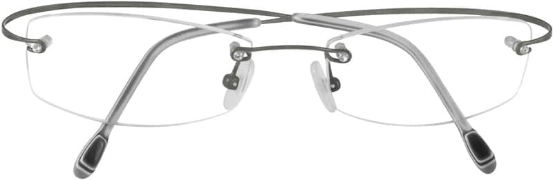 Grey 3722 Rimless Hingeless Titanium Frame w/Sparkling Crystal Screwhead.