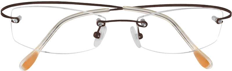 Brown 3722 Rimless Hingeless Titanium Frame w/Sparkling Crystal Screwhead.