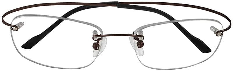 Brown 3728 Rimless Hingeless Titanium Frame.