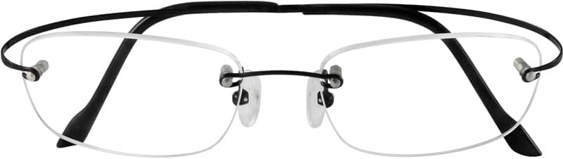 Black 3728 Rimless Hingeless Titanium Frame.