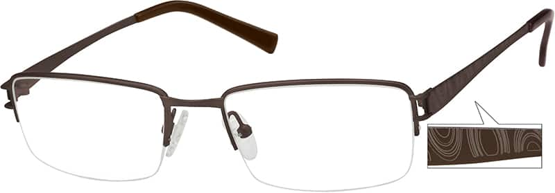Gray Pure Titanium Half Rim Frame #3757 Zenni Optical ...