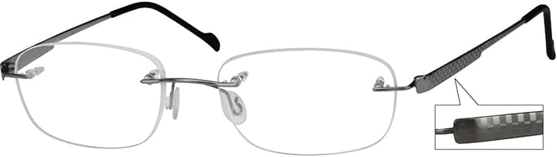 Grey 3789 Rimless Pure Titanium Frame