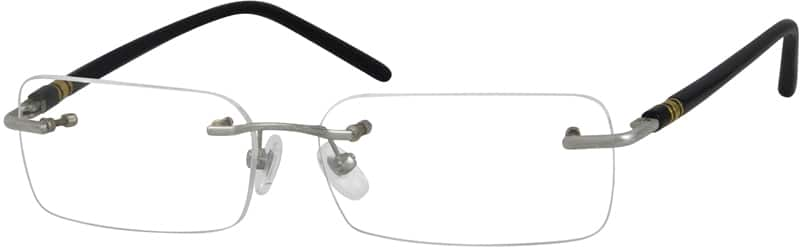 Silver 3930 Rimless Metal Alloy Frame with Designer Acetate Temples