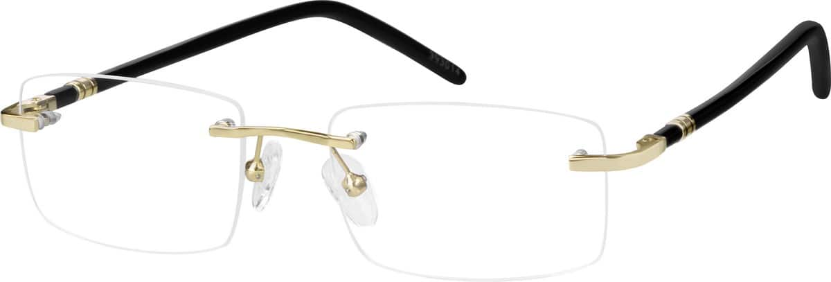 Gold 3930 Rimless Metal Alloy Frame with Designer Acetate Temples