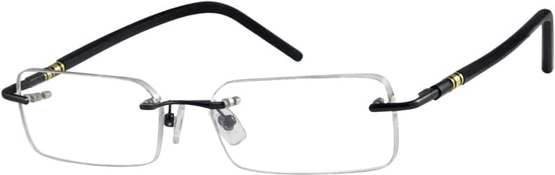 Black 3930 Rimless Metal Alloy Frame with Designer Acetate Temples